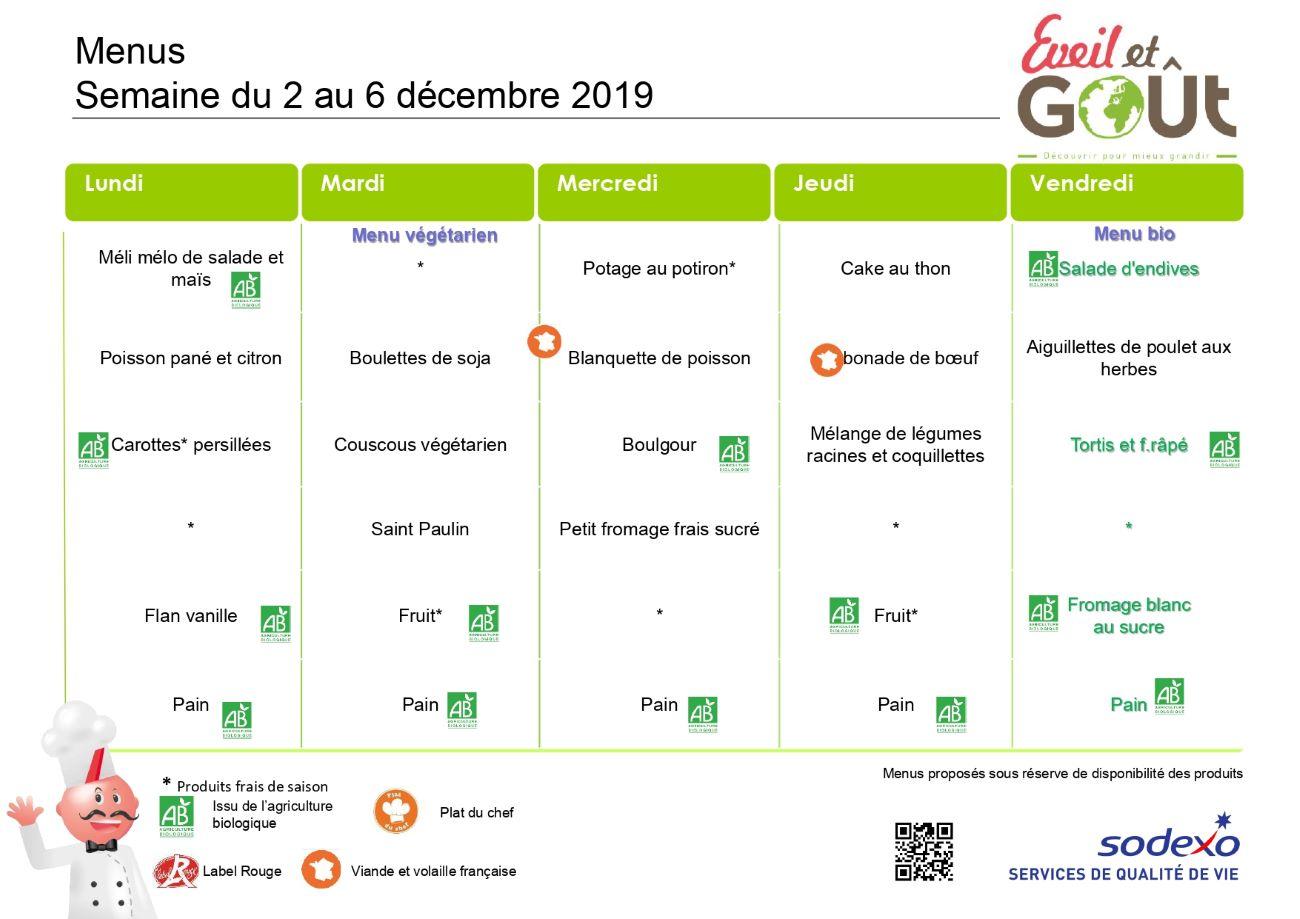 Menu cantine du 2 au 6 décembre 2019