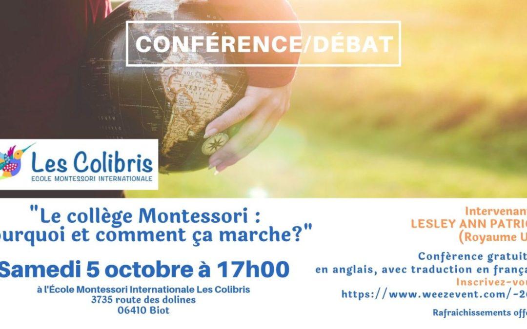 Conférence/débat : «Le collège Montessori : Pourquoi et comment ça marche?»