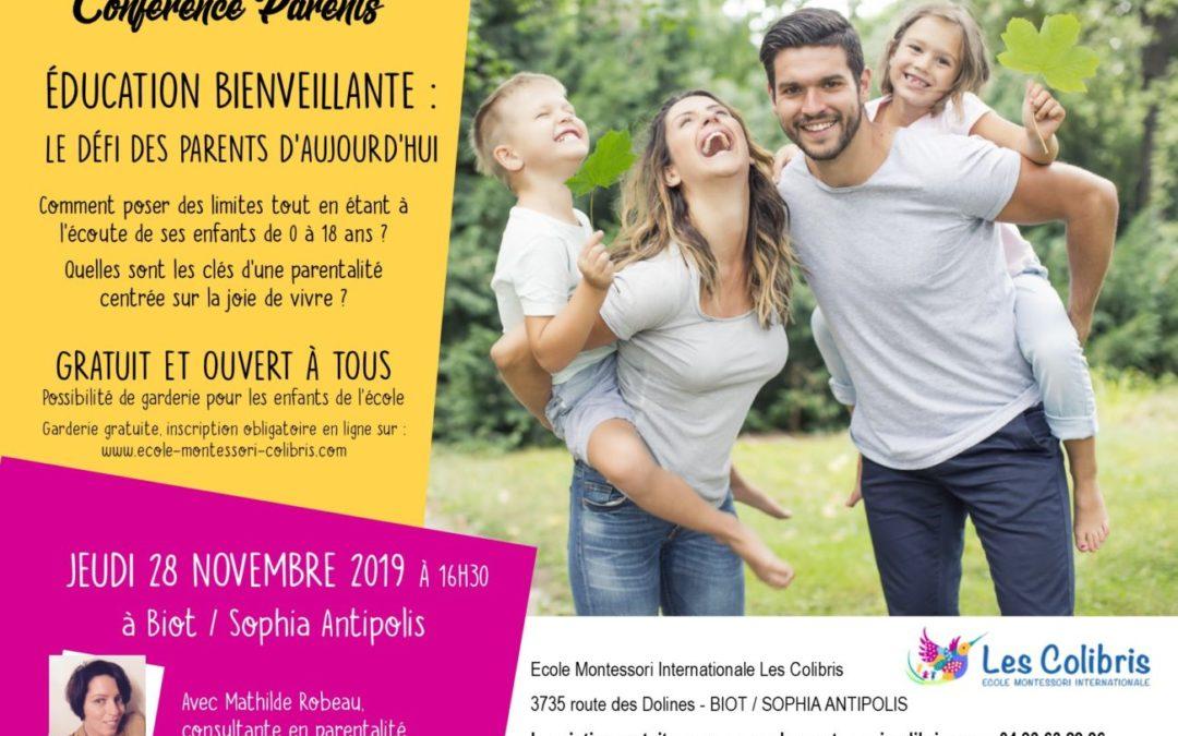 Conférence parents : Éducation bienveillante, le défi des parents d'aujourd'hui