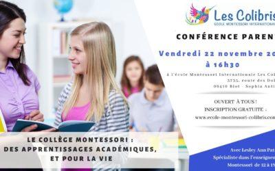Le collège Montessori : des apprentissages académiques, et pour la vie