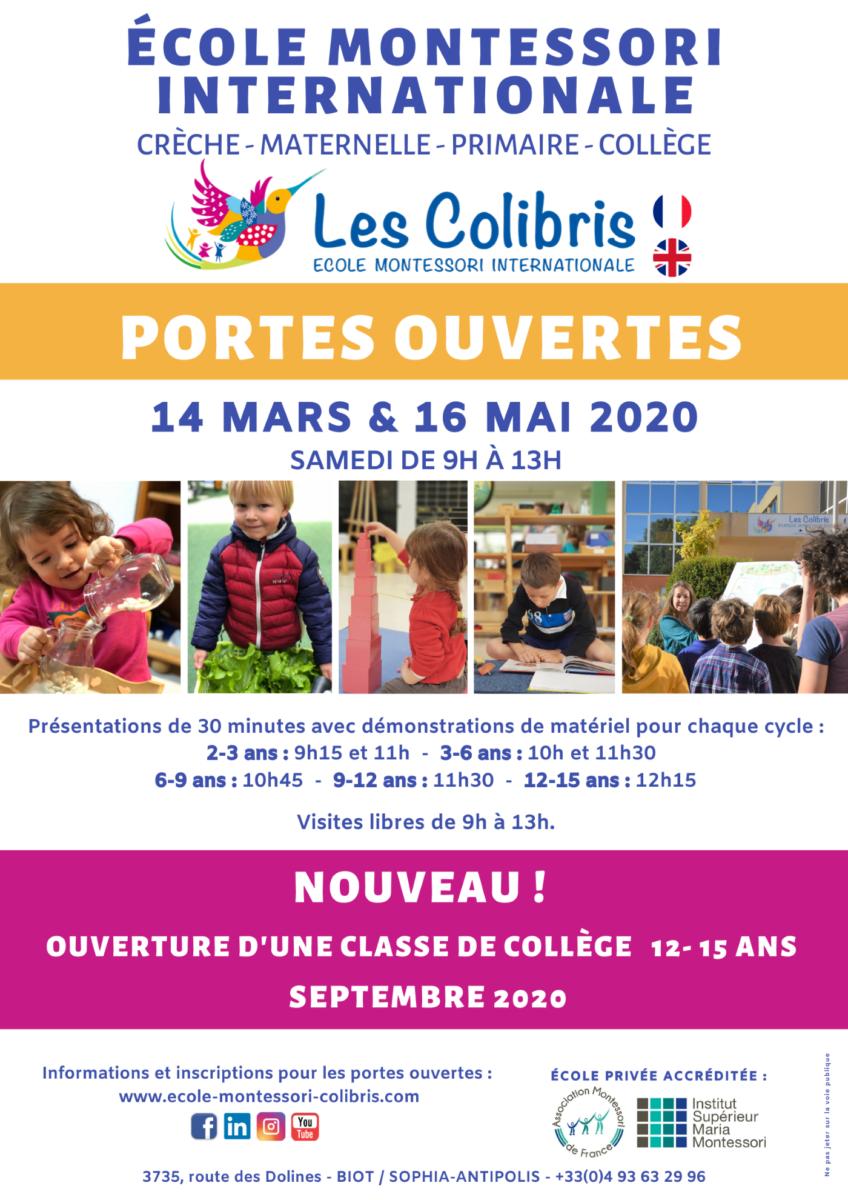 Portes ouvertes 2020 Ecole Montessori Les Colibris