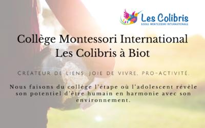 Ouverture en septembre 2020 de notre collège Montessori International