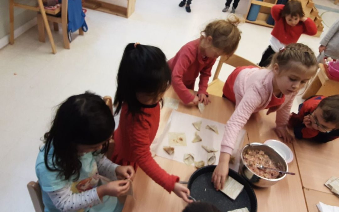 Chinese New Year celebration and dumpling making